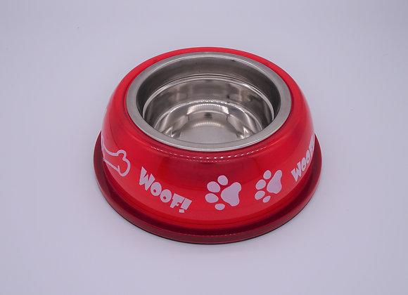 Roter Hundenapf mit Pfoten & Knochen