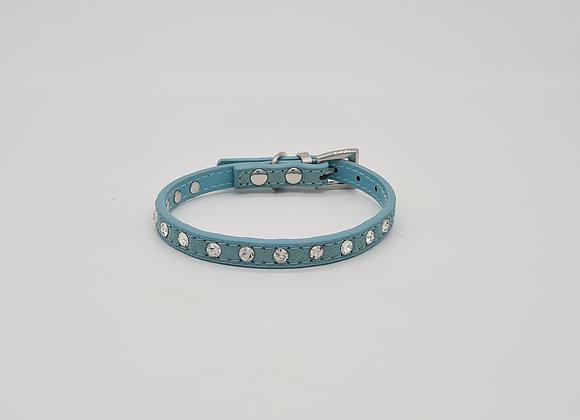 Blaues Lederhalsband mit Strasssteinen