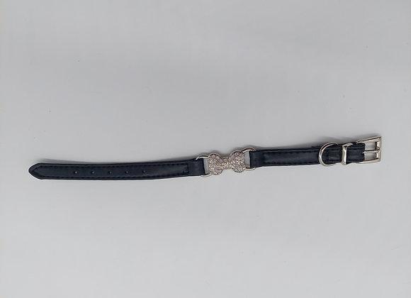 Halsband schwarz mit Strassstein Knochen