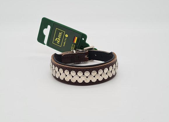 Braunes Lederhalsband mit Silbernen Applikationen