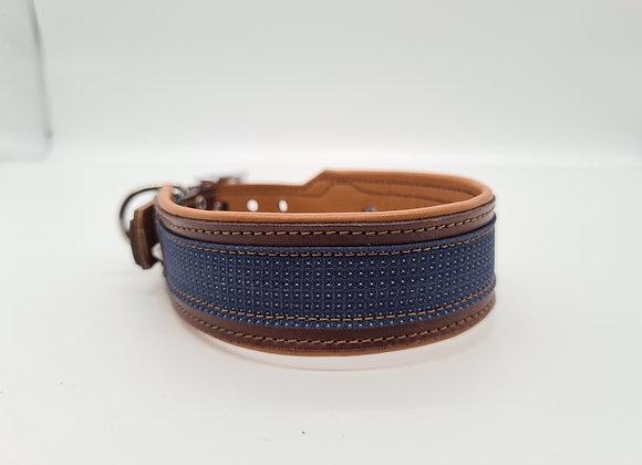 Lederhalsband Braun/Blau