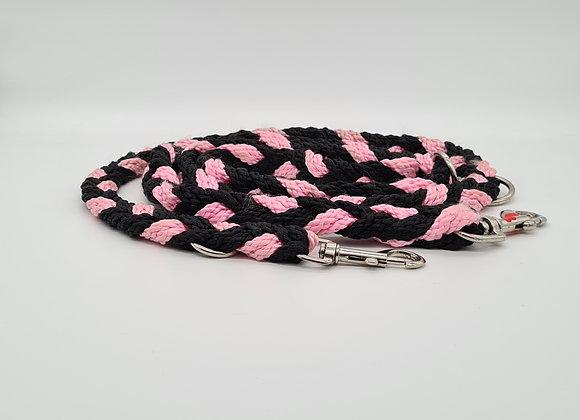 Geflochtene Leine Schwarz/Pink