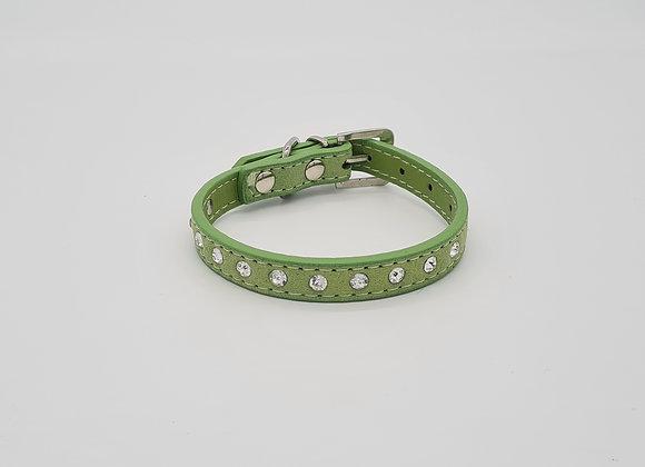 Grünes Lederhalsband mit Strasssteinen