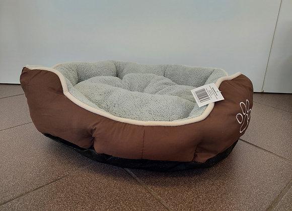 Hundebett Braun mit Pfotenmotiv
