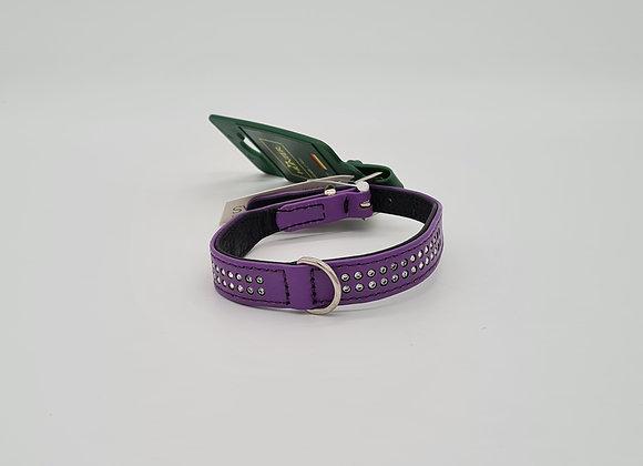 Violettes Lederhalsband mit Swarovskisteinen