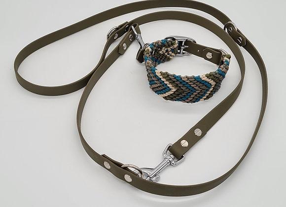 Paracord Halsband und Biothane Leine Set
