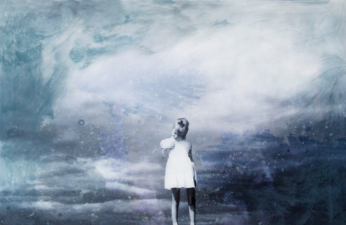 """And So I Left Your Safe Shores, 2018 20"""" x 30"""" Lustre print mounted on  birch plywood with poured  resin and tinted inks SOLD"""