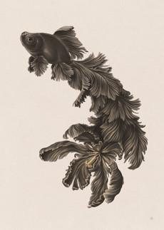 "Cascade, 2020 Gouache & Digital Exhibited at 10.5"" x 14.5"" Print at 5.25"" x 7.25"""