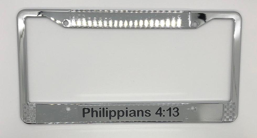 Philippians 4:13Chrome Scripture License Plate Frame
