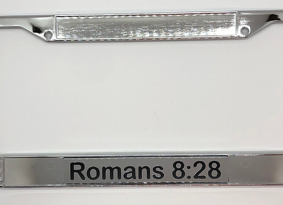 Romans 8:28Chrome Scripture License Plate Frame