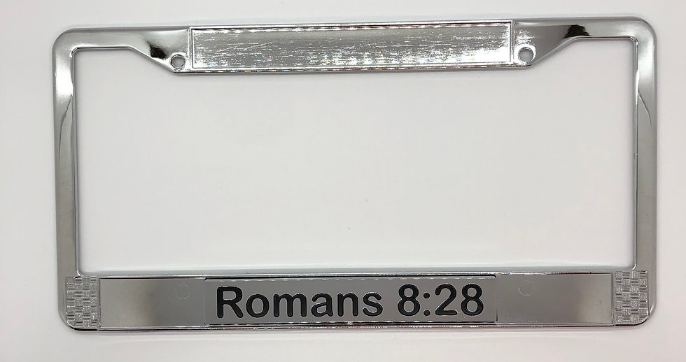 Romans 8:28 Chrome Scripture License Plate Frame