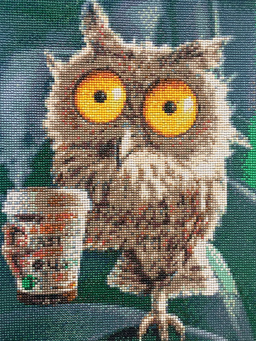 Coffee Owl Finished Painting