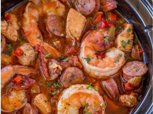 Slow Cooker Jambalaya with Andouille Sausage, Chicken and Shrimp Cooked Low and Slow with Bold Spice
