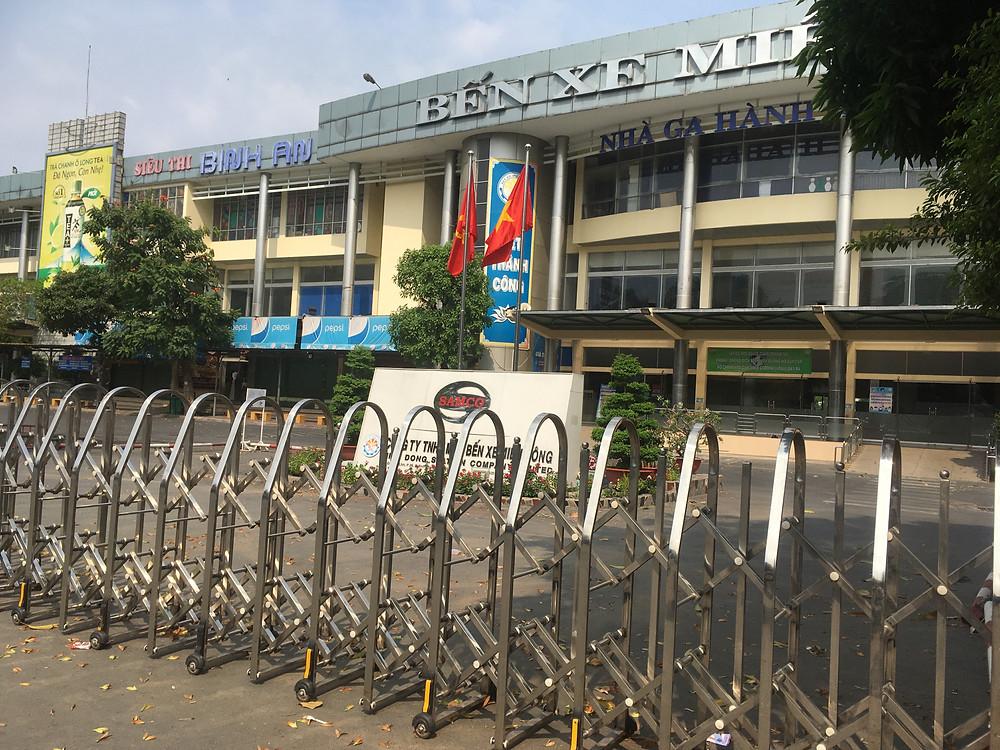 新型コロナの影響で閉鎖されたホーチミン市のバスターミナル