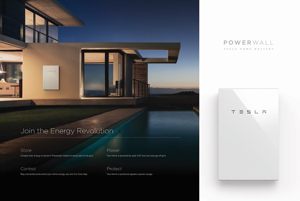 Tesla wall stats and picture of modern house