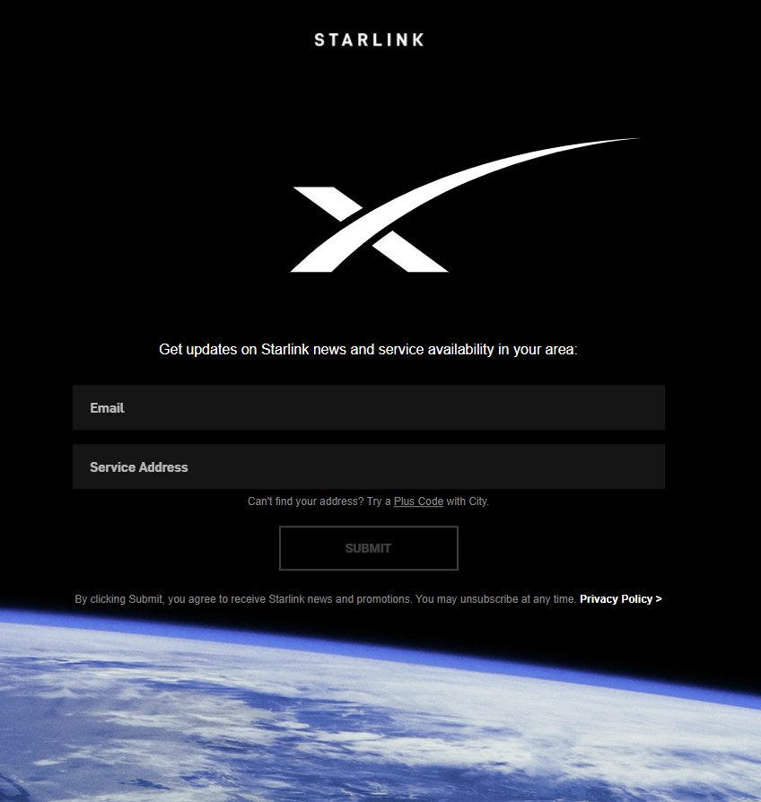 Starlink sign up page from home page