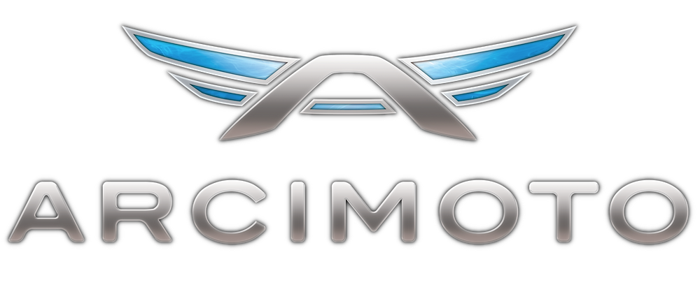 Arcimoto logo in colour Electric 3 wheel vehicle EV