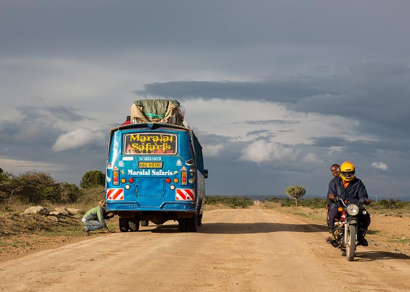 bus and motorcycle travel in rural kenya