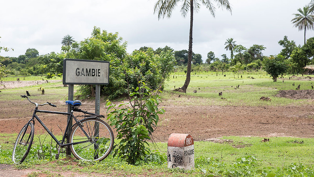 Gambia road sign at Senegal border