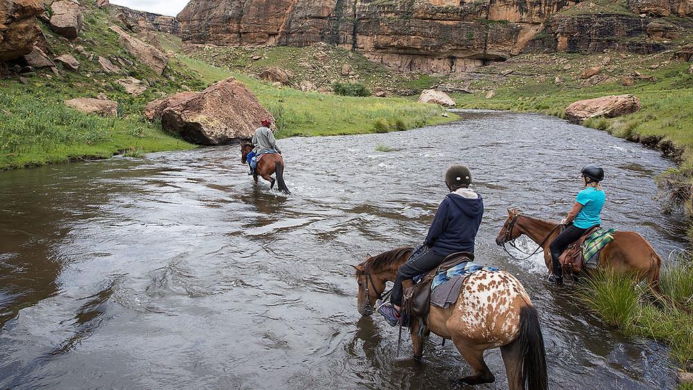 river crossing horse trek lesotho