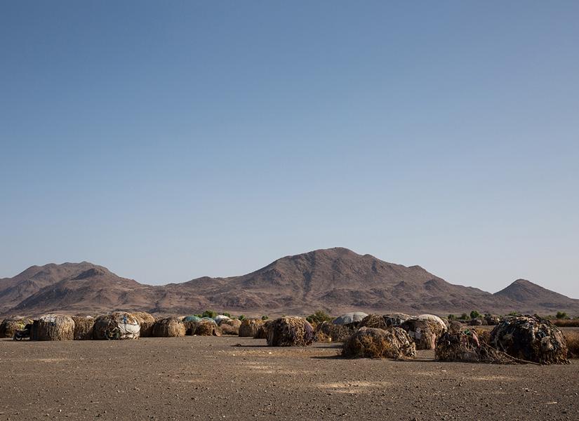 view of Moite village on Lake Turkana in Kenya