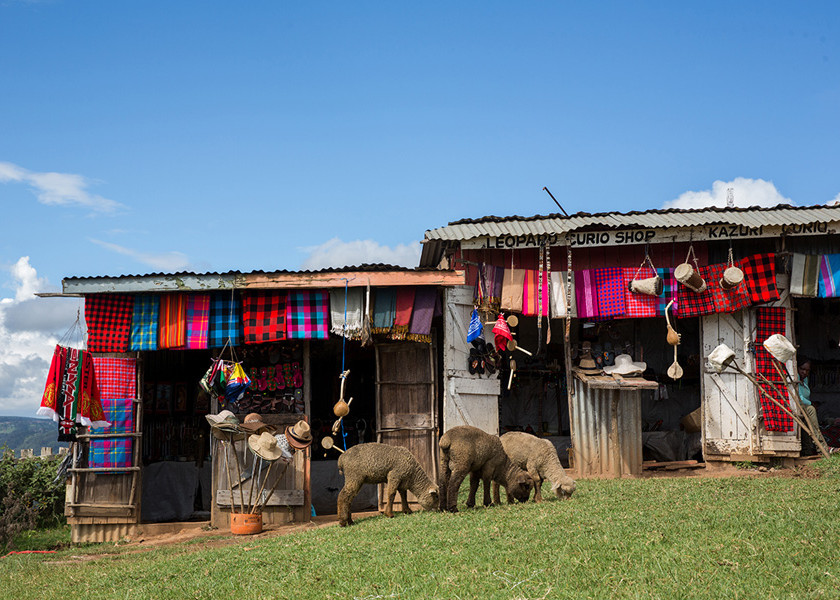Tourist souvenirs along the highway in Kenya