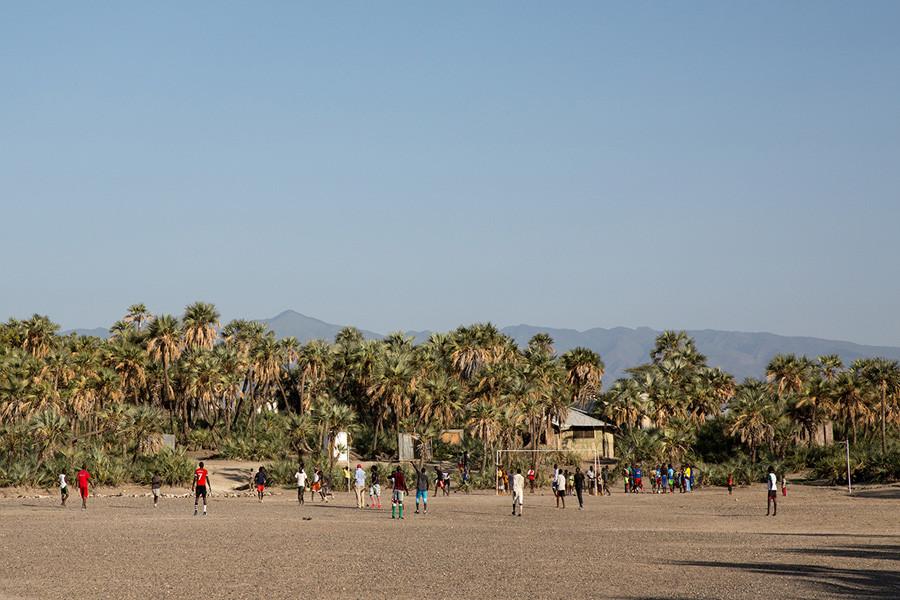 kids playing football game in Loiyangalani Kenya