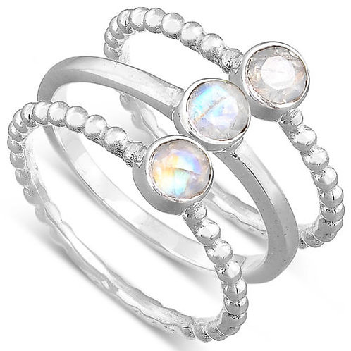 Кольцо серебро 925 с лабрадоритом натуральным (3 кольца в компл) арт 00524-55