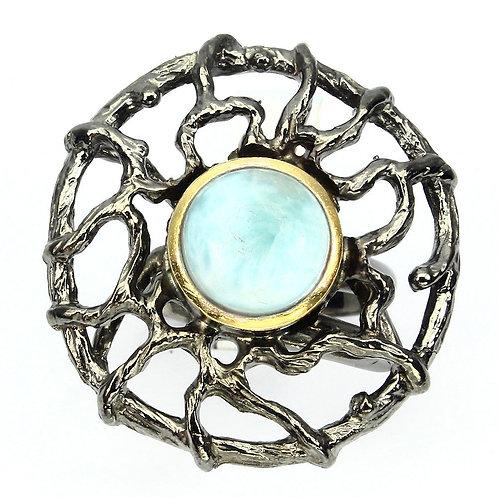 Кольцо серебро 925 с ларимаром натуральным (р.16.5)