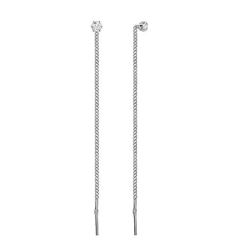 Серьги-продевки серебро 925 с фианитом (белый)