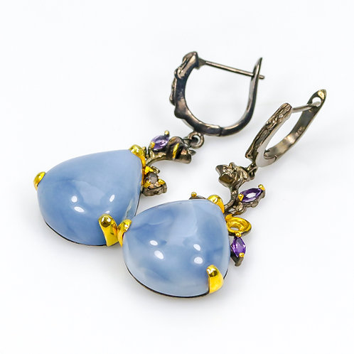 Серьги серебро 925 ручной работы с голубым опалом натуральным арт.102388