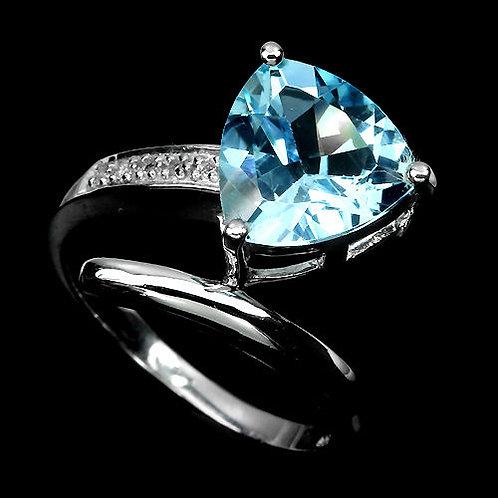 Кольцо серебро 925 c топазом натуральным (р.17.3)