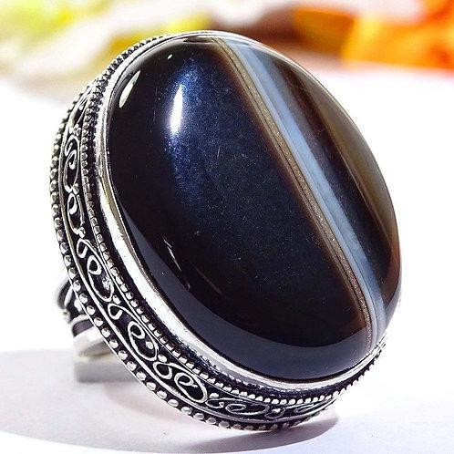 Кольцо серебро 925 ручной работы с черным агатом Ботсвана натуральным 17,7