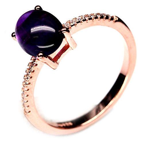 Кольцо серебро 925 c фиолетовым аметистом натуральным арт.000847-52 (р.17.9)