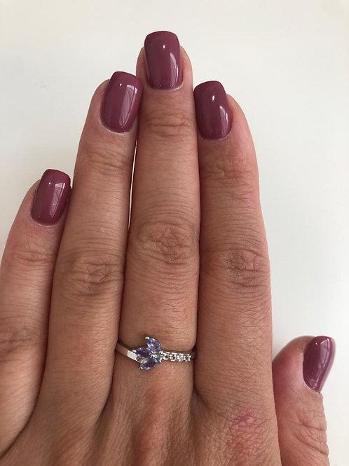 Кольцо серебряное с танзанитом натуральным арт.102724-25