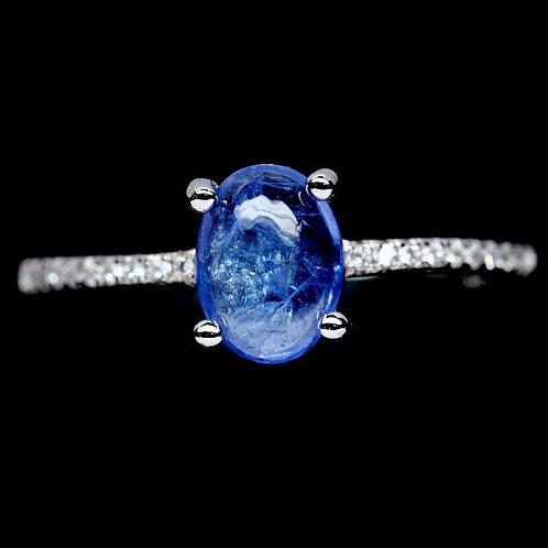 Кольцо серебро 925 ручной работы с синим танзанитом натур арт.102029 (р.18,2)