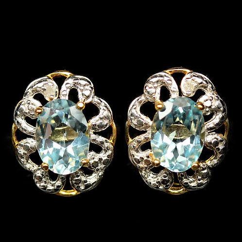«Серьги-пуссеты серебро 925 с топазом натуральным