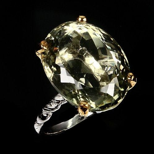 Кольцо серебро 925 ручной работы с зеленым аметистом нат. (р.17.3) арт.102624