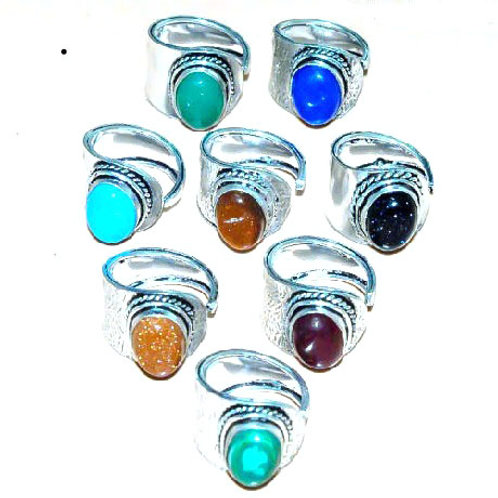Кольцо серебро 925 с камнями натур. размер регулир.