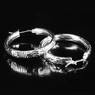Серьги-кольца серебро 925 ручной работы (диаметр 34 мм)