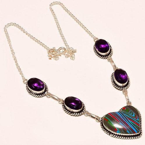 Ожерелье серебро 925 ручной работы с радужной кальциликой и аметистом натурал.