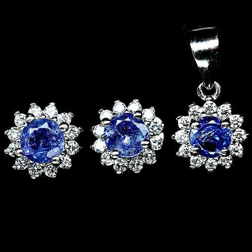 Комплект серебро 925 ручной работы с синим танзанитом натуральным 4 мм
