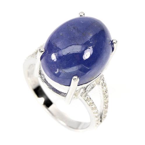 Кольцо серебро 925 ручной работы с синим танзанитом натурал. 16х12 мм (р.16.9)