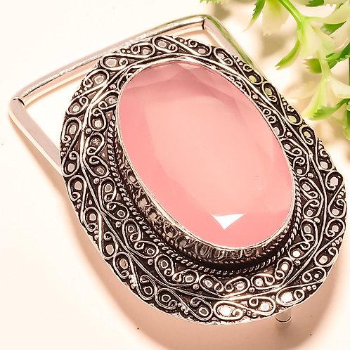 Пряжка для ремня серебро 925 ручной работы с халцедоном розовым натуральным