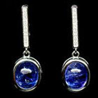 Серьги серебро 925 ручной работы с синим танзанитом натуральным арт.102734