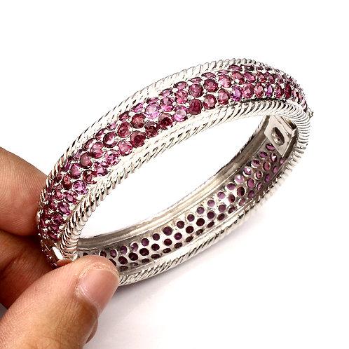 Браслет серебро 925 ручной работы с розово-малиновым родолитом натуральным 3 мм