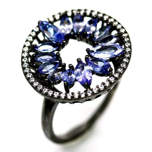 Кольцо серебро 925 ручной работы с синим танзанитом натур. (р.17.3) арт.102984