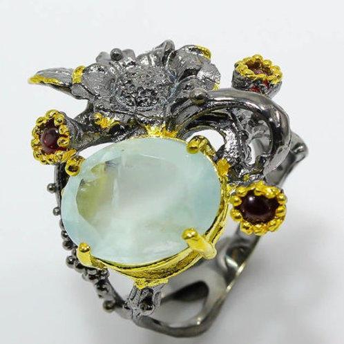 Кольцо серебро 925 ручной работы с аквамарином натуральным (р.17.9)