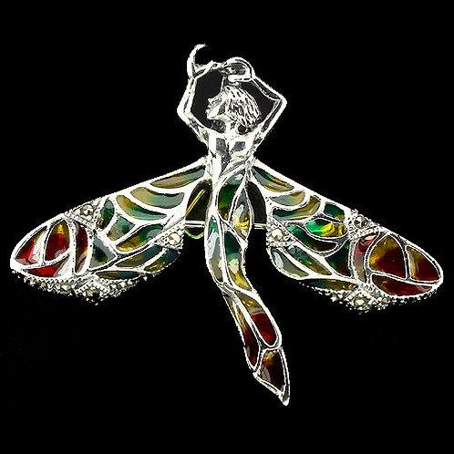 Серебряная брошь  с эмалью фея