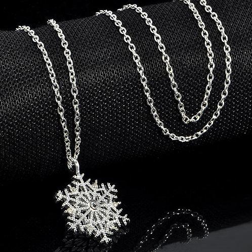 """Колье серебро 925 со стразами """"Снежинка"""" (длина 45 см)"""